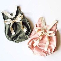 Maia Bowknot Backless Romper