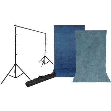 Background Kit with 10 x 12' Stone Blue/Nickel Reversible Muslin Backdrop