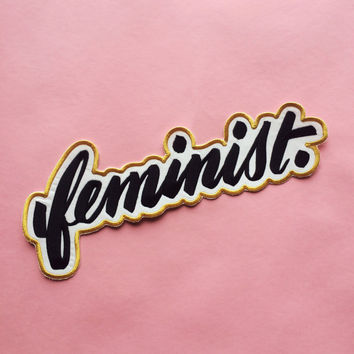 Big F, Little F, the HUGE feminist embroidered patch