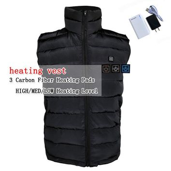 Electric heating heated down vest for skiing hiking camping winter men vest keep body warm for women and men With batteries