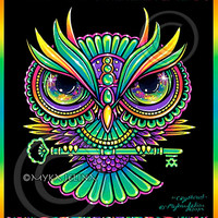 Psychedelic Rainbow Owl Trippy Hippie Crystowl 8x10 Signed PRINT