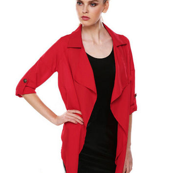 Half Sleeve V-neck Chiffon Cardigan Jacket