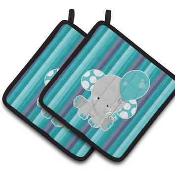 Grey Elephant with Balloon Pair of Pot Holders BB6842PTHD