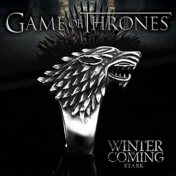 Beier Stainless Steel ring Game of Thrones ice wolf House Stark of Winterfell Biker animal ring Fashion Jewelry  LLBR8-351R