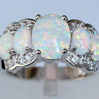 White Fire Opal Rings for Women
