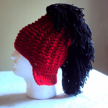 Mens Mohawk Hat Red and Black Roman Centurion Helmet Gladiator Hat Beanie Husband Boyfriend Dad Winter Hat