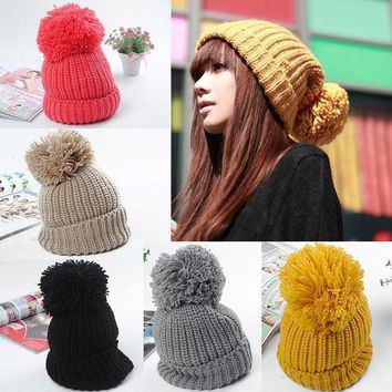 VONESC6 Women Winter Slouch Knit Cap Warm Oversized Cuffed Beanie Crochet Ski Bobble Hat  High Quality
