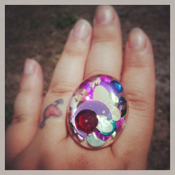 "Handmade  ""PrismGem"" Multi Colored Sequin Loaded Large Resin Oval Dome Bubble Adjustable Ring Made to Order"