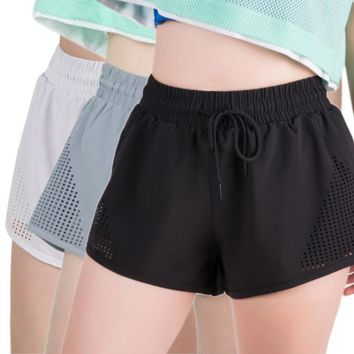 Women False Two-Piece Fitness Sports Running Shorts Anti-Accidental Exposure Girls Yoga Shorts Pocket Elastic Waist Shorts