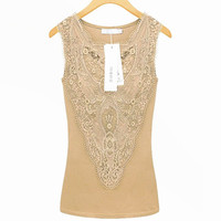 New Women Tops Tees Lace T Shirts Slim Embroidery Cotton Tank Top Vest Lady Summer 2015
