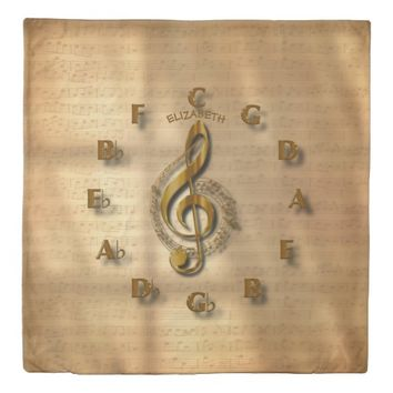 Gold Treble Clef Clock With Circle Of Fifths Music Duvet Cover