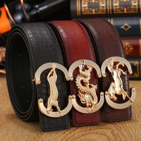 The new belt Male animals smooth buckle leather belt Business type leisure leather pin buckle belts Are men and women's brand