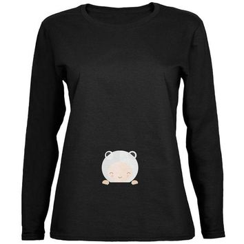 LMFCY8 Polar Bear Cub Baby Black Womens Long Sleeve T-Shirt