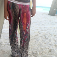 Barefoot Beach Multi Color Mural Print Wide Leg Pants