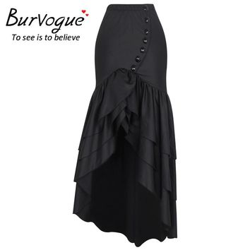 Burvogue New Women Fashion Long Skirt Steampunk Gothic Skirts Sexy Slim Fishtail Long Corset Skirt Maxi Mermaid Skirts