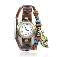 Handmade Dark Brown Leather Watch with Leaf Pendant
