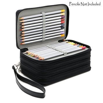 Hotsale 72 Holders 4 Layers Handy PU Leather School Pencils Case
