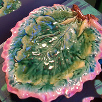 ETRUSCAN MAJOLICA 1980'S Antique Griffin Smith & Hill  Lovely Majolica Oak Leaf Bread Tray 12""