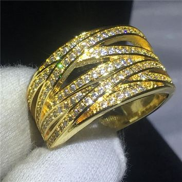 Classic Cross infinity ring Yellow Gold Filled Anniversary wedding band rings for women men Pave setting AAAAA zircon cz Bijoux