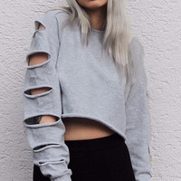 French Terry Cut Sleeve Crop Top Sweater
