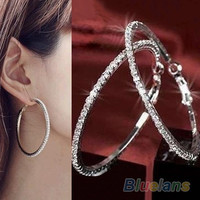 1 Pair Womens Luxury Crystal Rhinestone Earring Ear Hoop Dangle = 1945760324