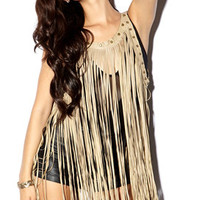 Faux Leather Fringed Top