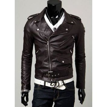 Mens Trendy Collared Faux Leather Jacket