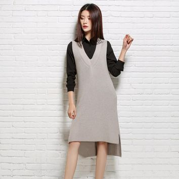 Casual Long Womens Vest Autumn Sleeveless V-Neck Cashmere blend Knitted Pullover Coats Winter Blue Khaki Loose Outerwear