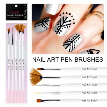 5Pcs Lot Professional Nail Art Brush Pen Tools For UV Gel Polish Design Painting Pen Set Salon Manicure Brush Kit