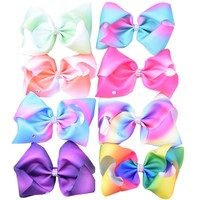 8 Inch Extra Large Rainbow Bow Clip Boutique Grosgrain Rhinestone Hair Ribbon Bows Barrettes HairPins For Girls