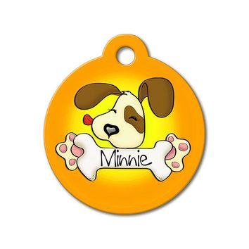 Orange Cute Puppy Licking Bone - Cute Pet Tag