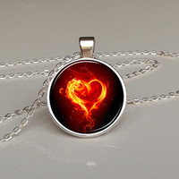 Burning heart pendant, flaming heart, love pendant, red heart necklace, valentines day gift, lovers, red pendant, love jewelry