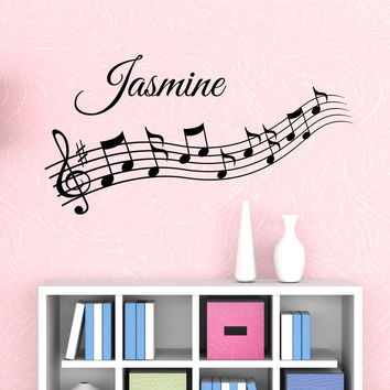 Music Notes Custom Name Wall Decal - by Decor Designs Decals, kids room decor, nursery wall decals, music note decals, musical notes decals, music wall decals