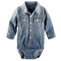 OshKosh B'gosh Chambray Button-Down Bodysuit - Baby Boy, Size: