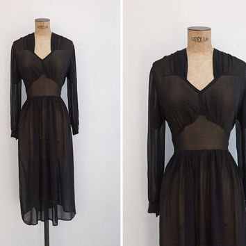 1940s Dress - Vintage 40s Black Sheer Chiffon Dress - Night Portrait Dress