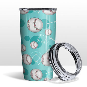 Teal Baseball Tumbler Cup - Baseball themed Pattern on Teal - 20oz Insulated with Clear Lid - Hot or Cold Beverages - Made to Order