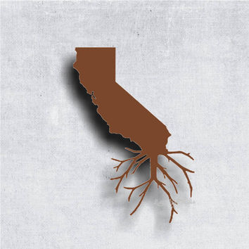 California Outline with Roots - car stickers - window stickers - decals - cali - golden state - west coast