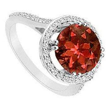 Garnet and Cubic Zirconia Ring : .925 Sterling Silver - 1.25 CT TGW