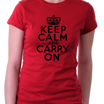 Keep Calm Carry On Red Ladies T-Shirt