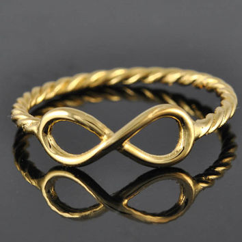 gold plated infinity ring, infinity knot, love knot, sterling silver, best friend, promise ring,personalized ring, friendship, sisters