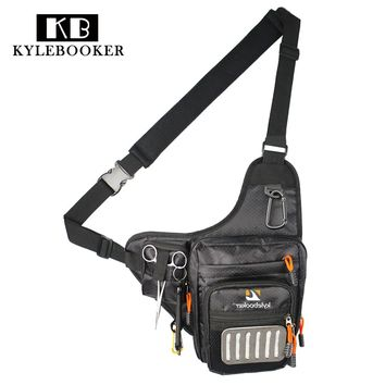 Fly Fishing Sling Bag Multi Function Fishing Waist Bag Pack Fishing Tackle Shoulder Bag  with Fly Patch