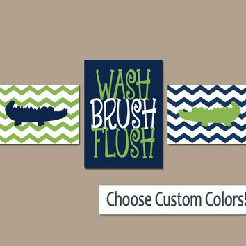 ALLIGATOR Bathroom Wall Art, Alligator Boy Brother Bathroom Decor, Kid Child Bathroom Decor, Canvas or Prints. Wash Brush Flush, Set of 3