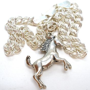 Reserved for Mel Sterling Silver Bracelet with Horse Charm 8'