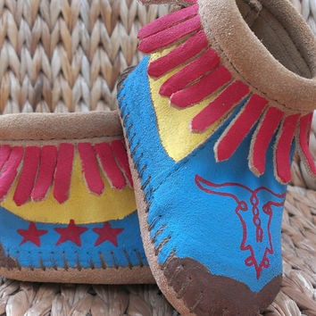 Custom Western Cowgirl and Desert Cow Skull Baby Moccasins