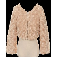 Girls Taupe Fur Cropped Length Dress Jacket with Satin Lining 2T-12