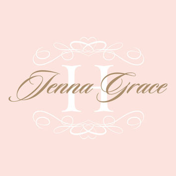 Nursery Name Decal With Shabby Chic Heart Frame And Monogram Initial For Girl Baby Nursery Or Girls Room Wall Art 22H x 36W GN024