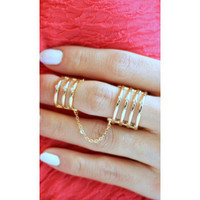 Double Chain Crystal Bar Ring