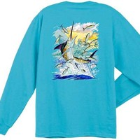 Guy Harvey Island Marlin Long Sleeve  Back-Print T-Shirt