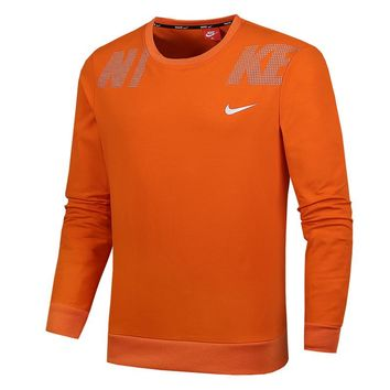 NIKE autumn and winter new men's sports and leisure plus velvet round neck sweater orange