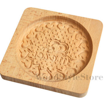 Wooden carving mold for gingerbread, cookie mold with heart ornament
